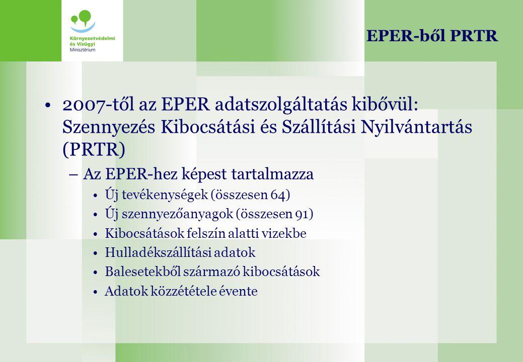 EPER-ből PRTR 2007-től az EPER adatszolgáltatás kibővül: Szennyezés Kibocsátási és Szállítási Nyilvántartás (PRTR)