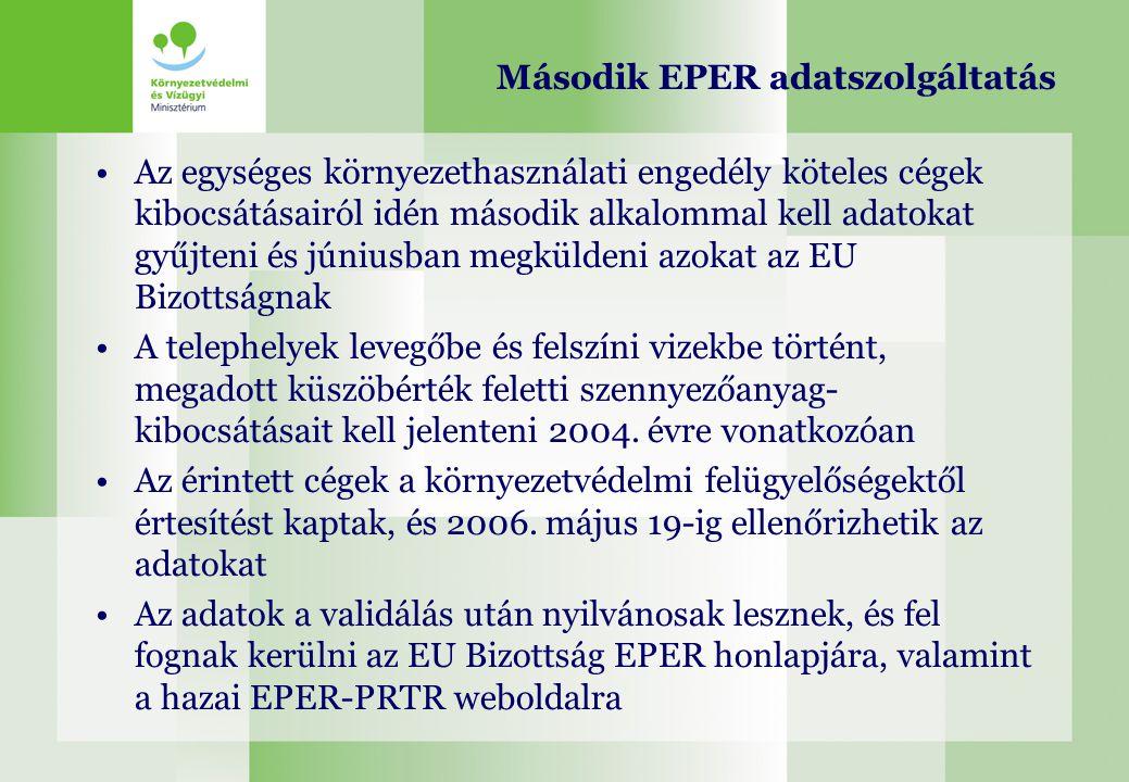 Második EPER adatszolgáltatás