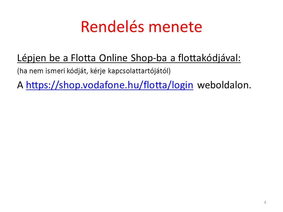 Rendelés menete Lépjen be a Flotta Online Shop-ba a flottakódjával: