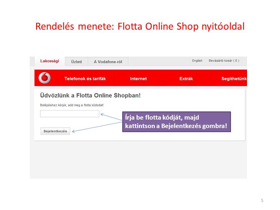 Rendelés menete: Flotta Online Shop nyitóoldal