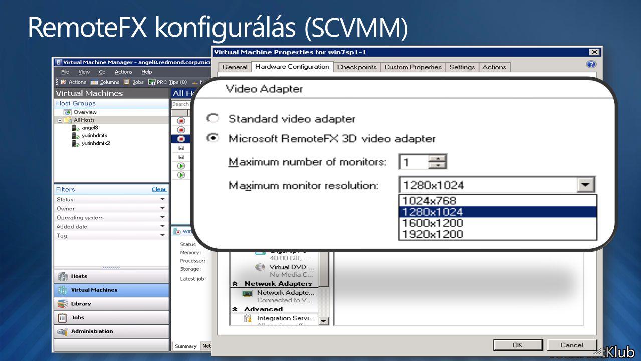 RemoteFX konfigurálás (SCVMM)