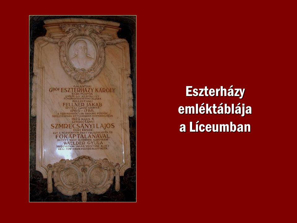 Eszterházy emléktáblája a Líceumban