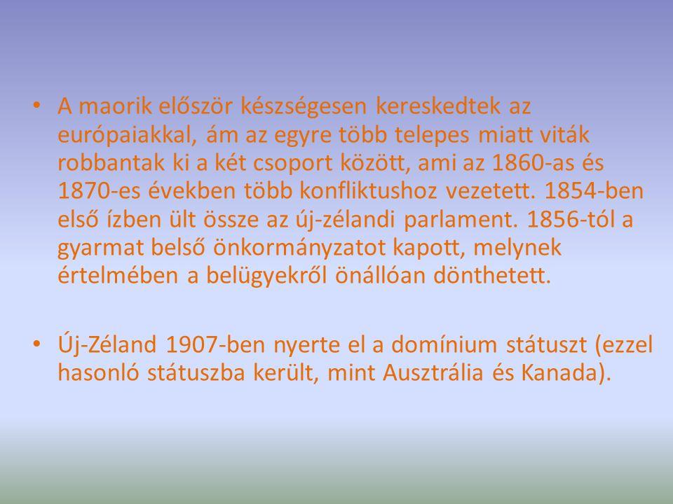 A maorik először készségesen kereskedtek az európaiakkal, ám az egyre több telepes miatt viták robbantak ki a két csoport között, ami az 1860-as és 1870-es években több konfliktushoz vezetett. 1854-ben első ízben ült össze az új-zélandi parlament. 1856-tól a gyarmat belső önkormányzatot kapott, melynek értelmében a belügyekről önállóan dönthetett.