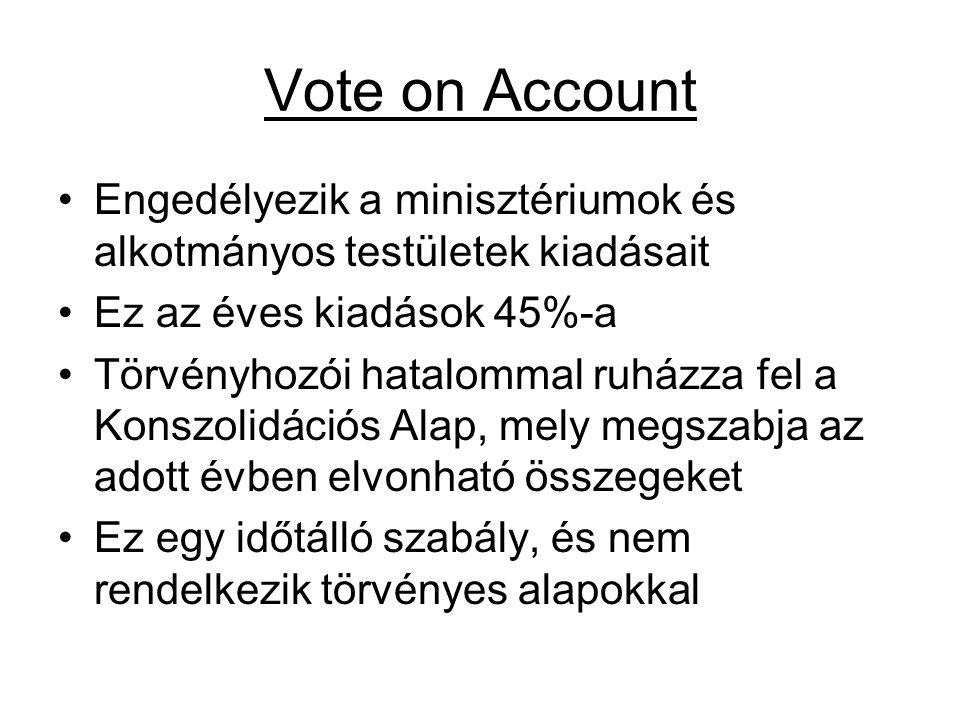 Vote on Account Engedélyezik a minisztériumok és alkotmányos testületek kiadásait. Ez az éves kiadások 45%-a.
