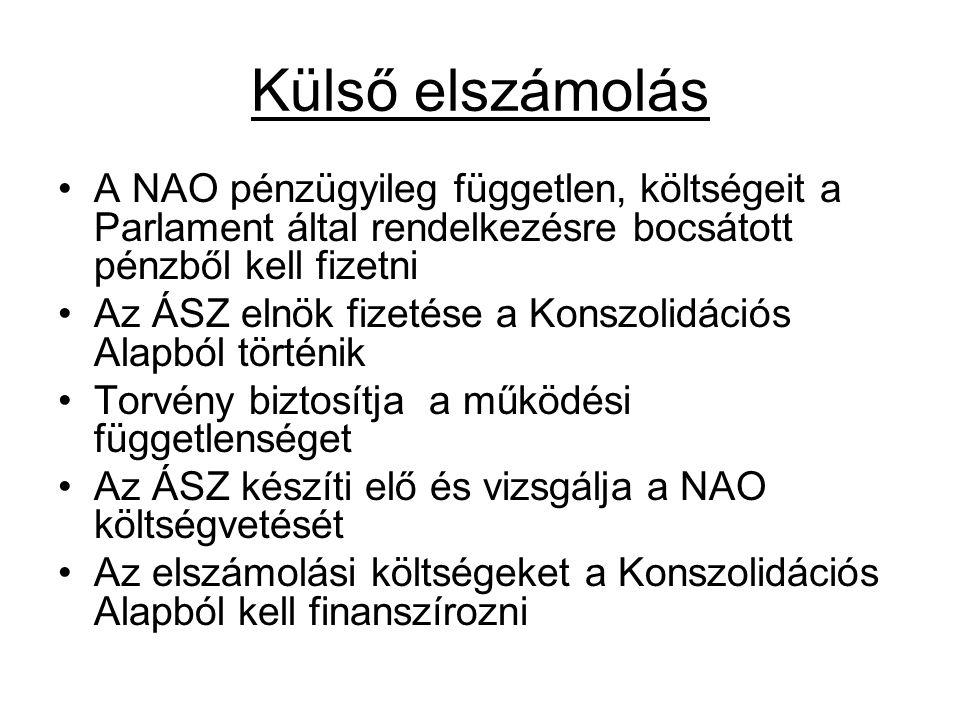 Külső elszámolás A NAO pénzügyileg független, költségeit a Parlament által rendelkezésre bocsátott pénzből kell fizetni.