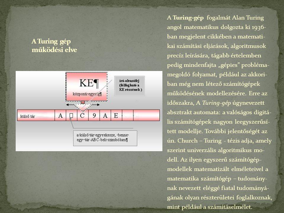 A Turing gép működési elve