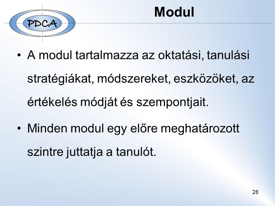 Modul A modul tartalmazza az oktatási, tanulási stratégiákat, módszereket, eszközöket, az értékelés módját és szempontjait.