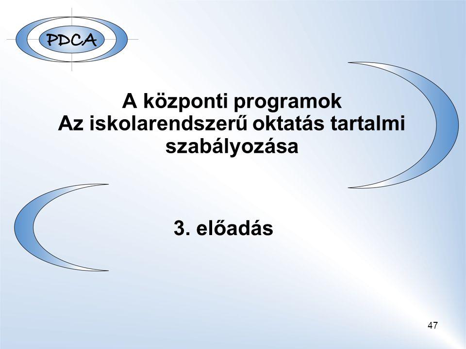 A központi programok Az iskolarendszerű oktatás tartalmi szabályozása