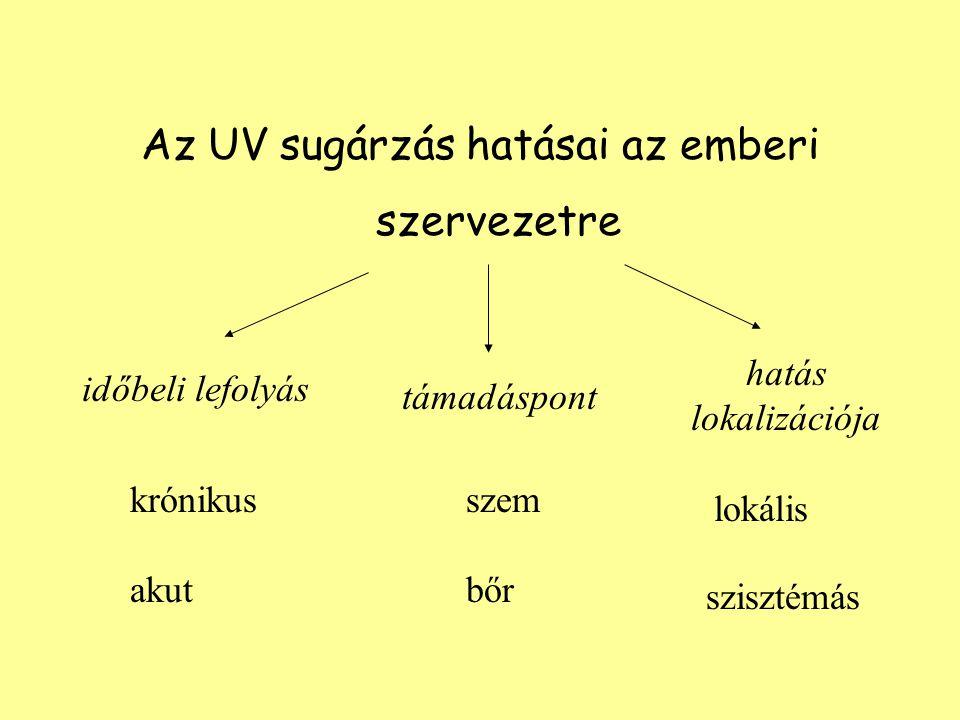 Az UV sugárzás hatásai az emberi szervezetre