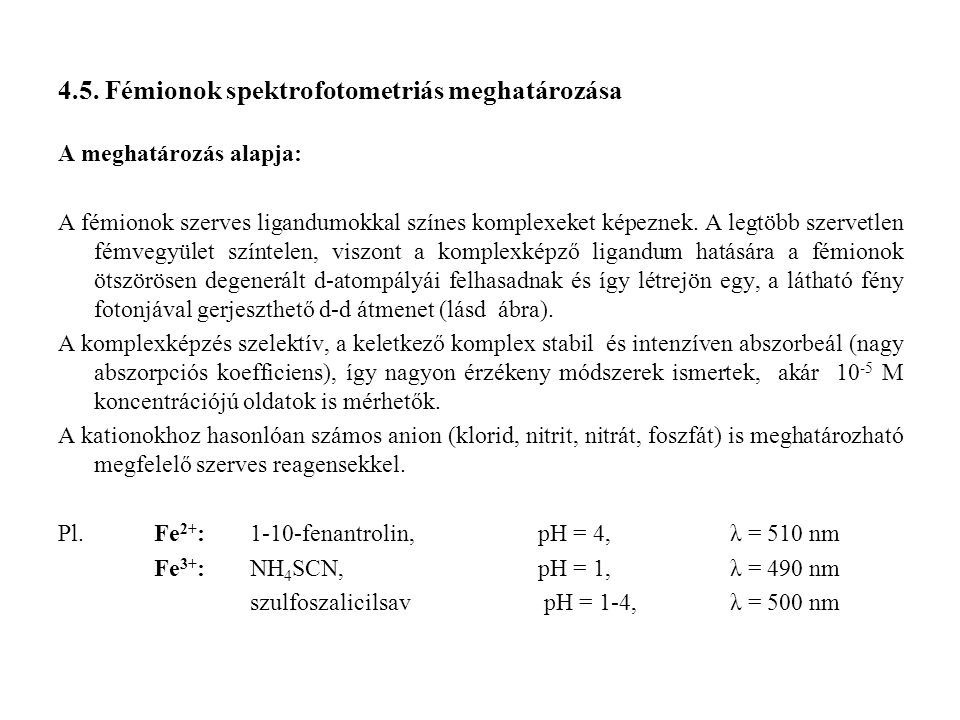 4.5. Fémionok spektrofotometriás meghatározása