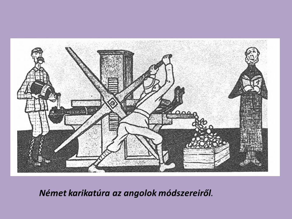 Német karikatúra az angolok módszereiről.