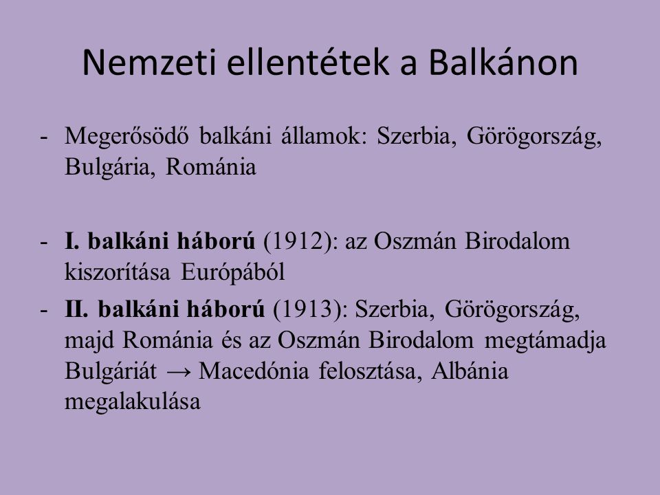 Nemzeti ellentétek a Balkánon