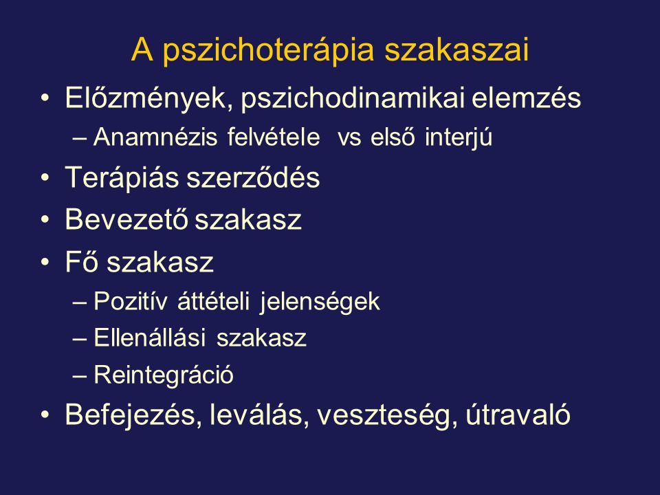 A pszichoterápia szakaszai