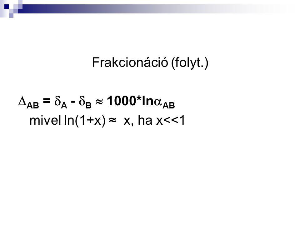 Frakcionáció (folyt.) AB = A - B  1000*lnAB mivel ln(1+x) ≈ x, ha x<<1