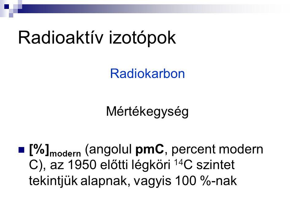 Radioaktív izotópok Radiokarbon Mértékegység