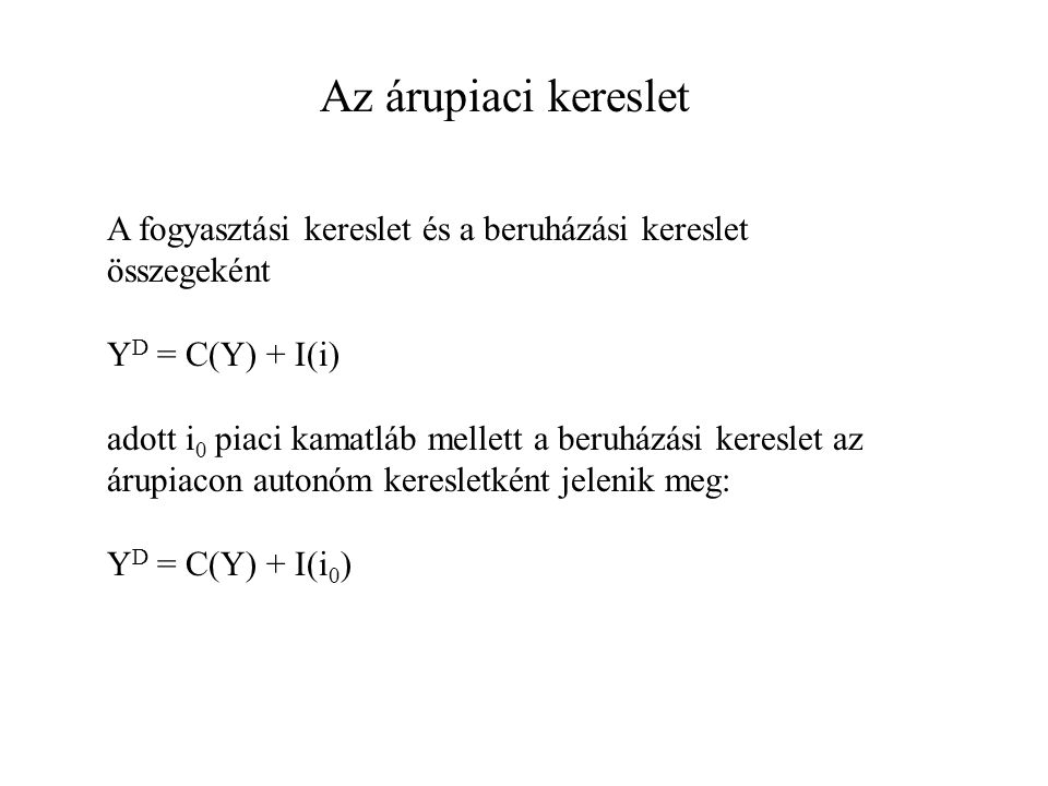 Az árupiaci kereslet A fogyasztási kereslet és a beruházási kereslet összegeként. YD = C(Y) + I(i)