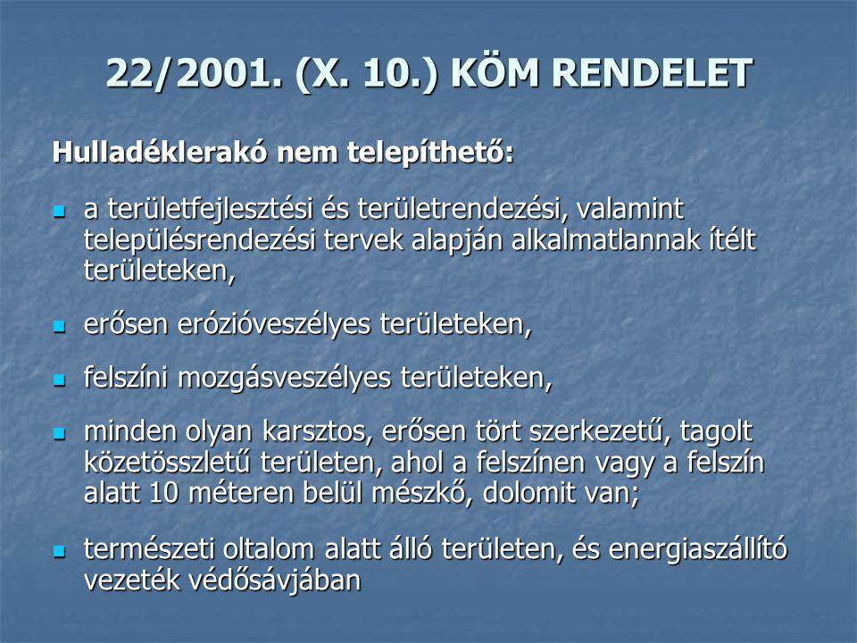 22/2001. (X. 10.) KÖM RENDELET Hulladéklerakó nem telepíthető: