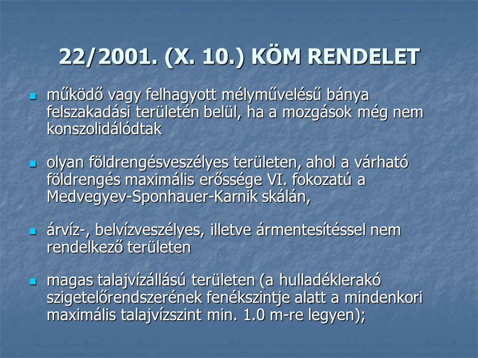22/2001. (X. 10.) KÖM RENDELET működő vagy felhagyott mélyművelésű bánya felszakadási területén belül, ha a mozgások még nem konszolidálódtak.