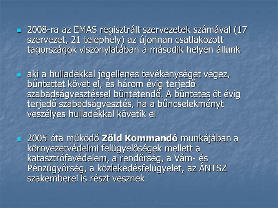 2008-ra az EMAS regisztrált szervezetek számával (17 szervezet, 21 telephely) az újonnan csatlakozott tagországok viszonylatában a második helyen állunk