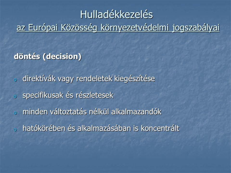 Hulladékkezelés az Európai Közösség környezetvédelmi jogszabályai