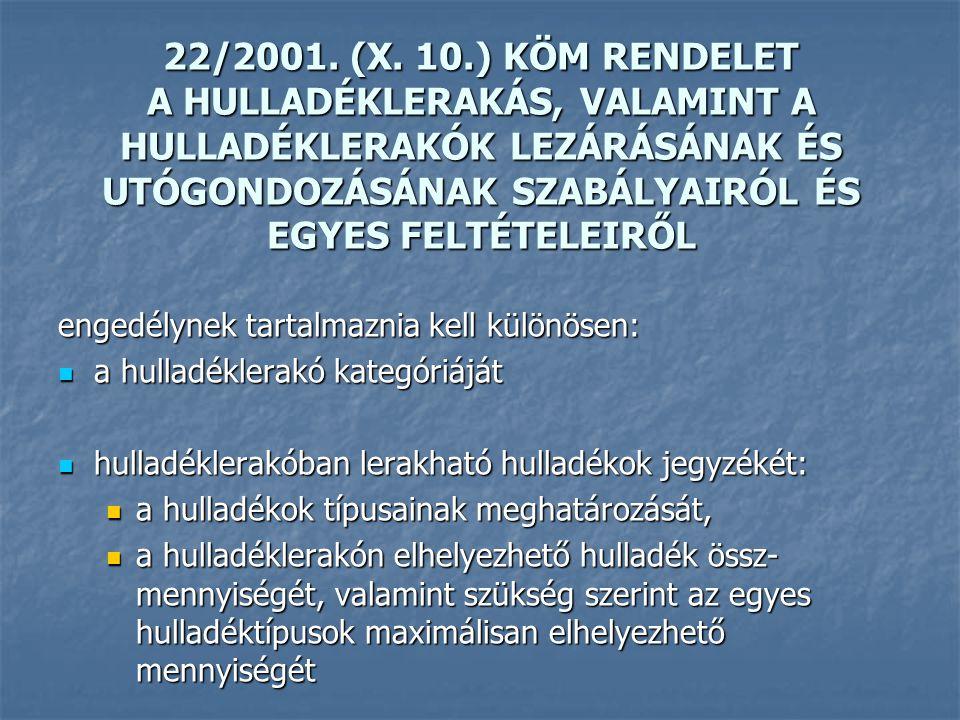 22/2001. (X. 10.) KÖM RENDELET A HULLADÉKLERAKÁS, VALAMINT A HULLADÉKLERAKÓK LEZÁRÁSÁNAK ÉS UTÓGONDOZÁSÁNAK SZABÁLYAIRÓL ÉS EGYES FELTÉTELEIRŐL