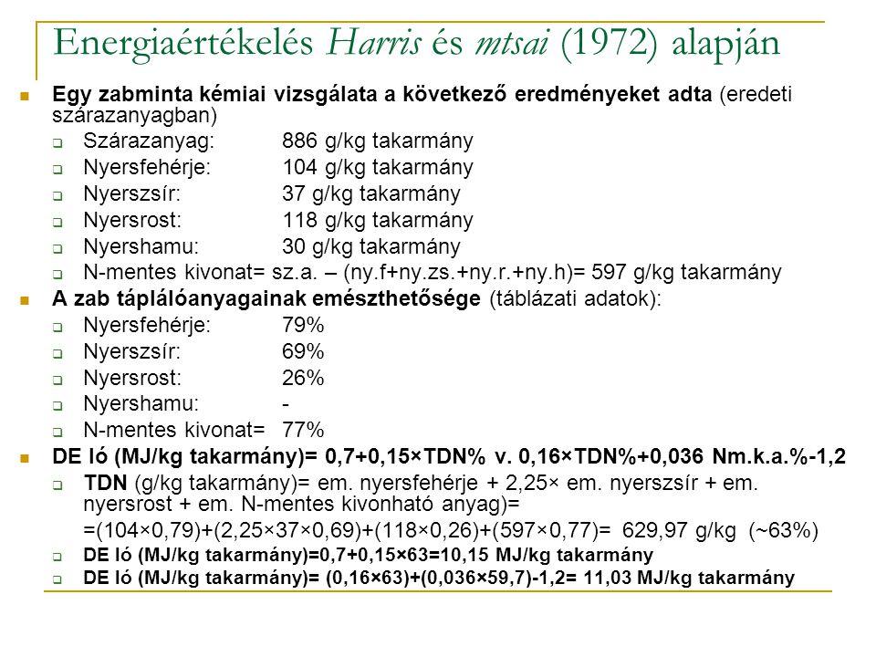 Energiaértékelés Harris és mtsai (1972) alapján