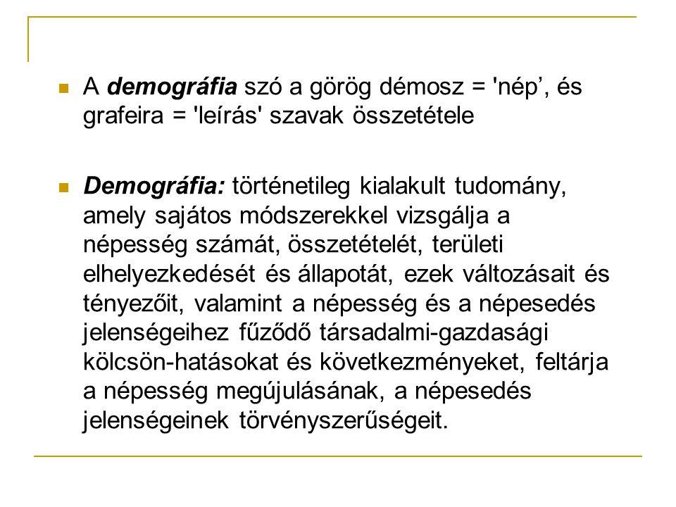 A demográfia szó a görög démosz = nép', és grafeira = leírás szavak összetétele