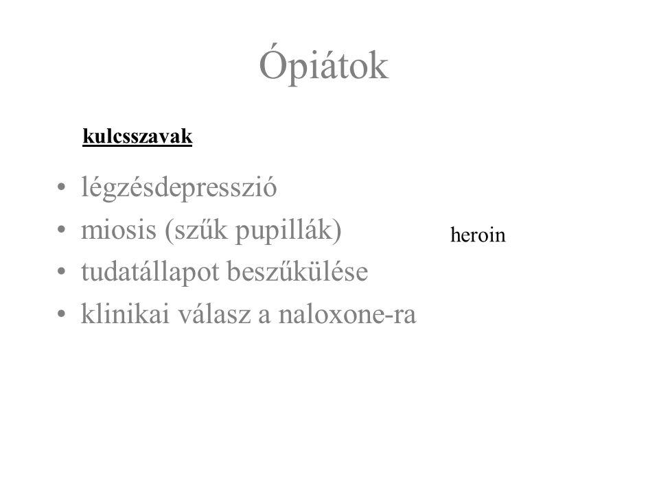Ópiátok légzésdepresszió miosis (szűk pupillák)