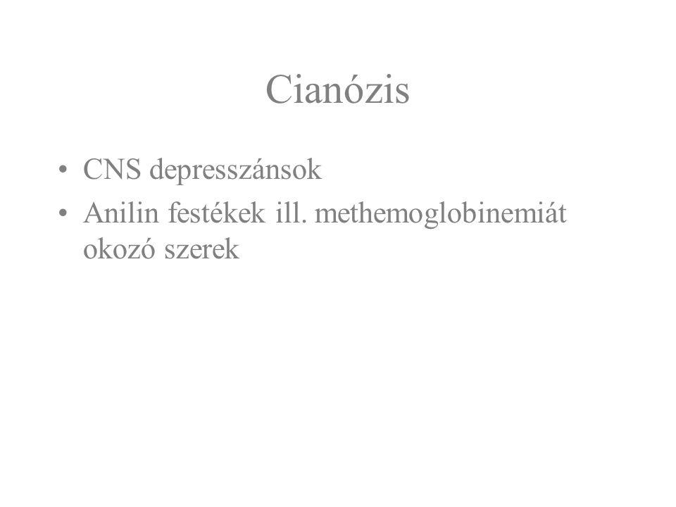 Cianózis CNS depresszánsok