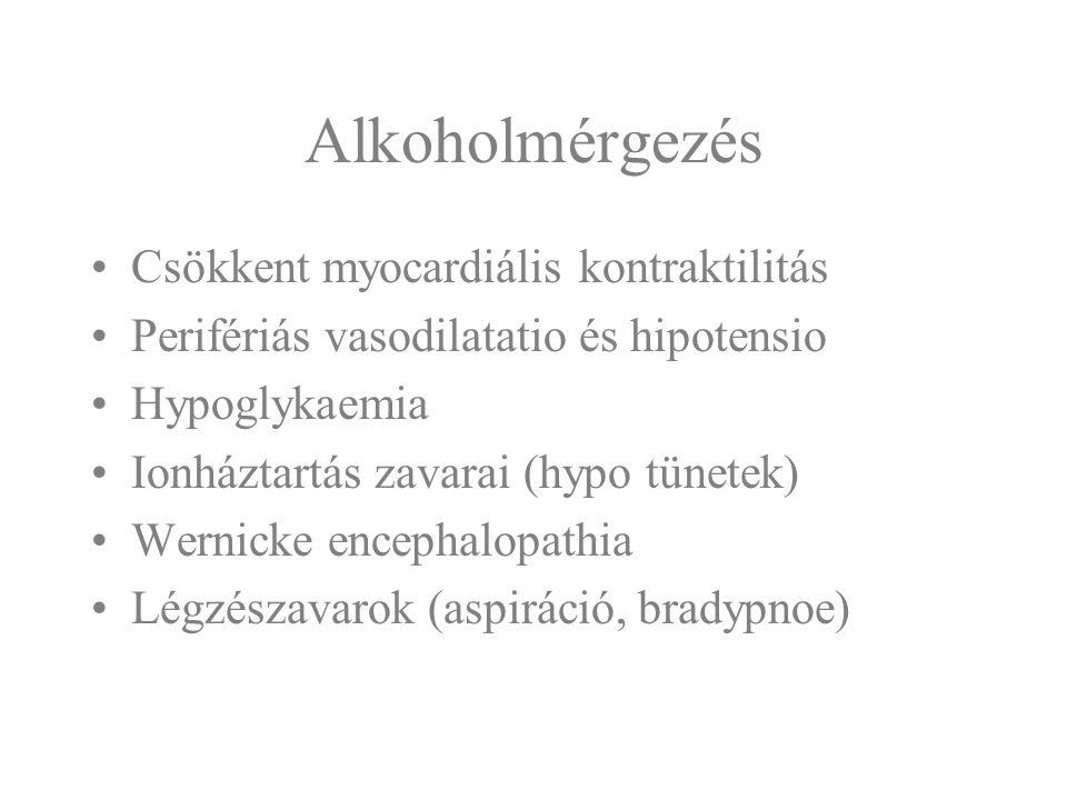 Alkoholmérgezés Csökkent myocardiális kontraktilitás