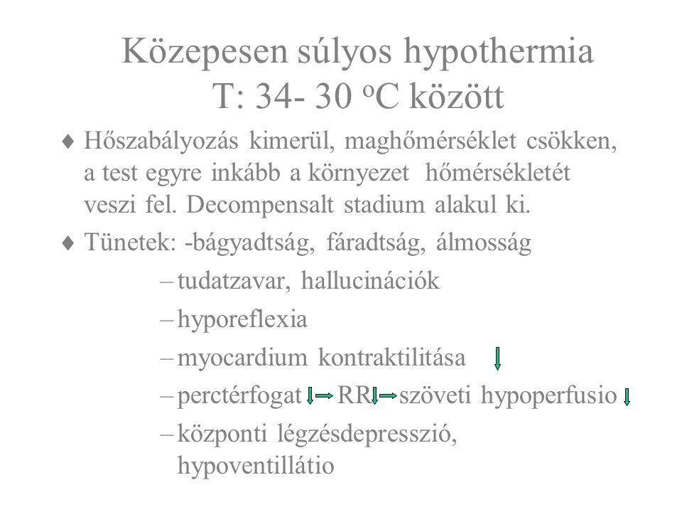 Közepesen súlyos hypothermia T: 34- 30 oC között