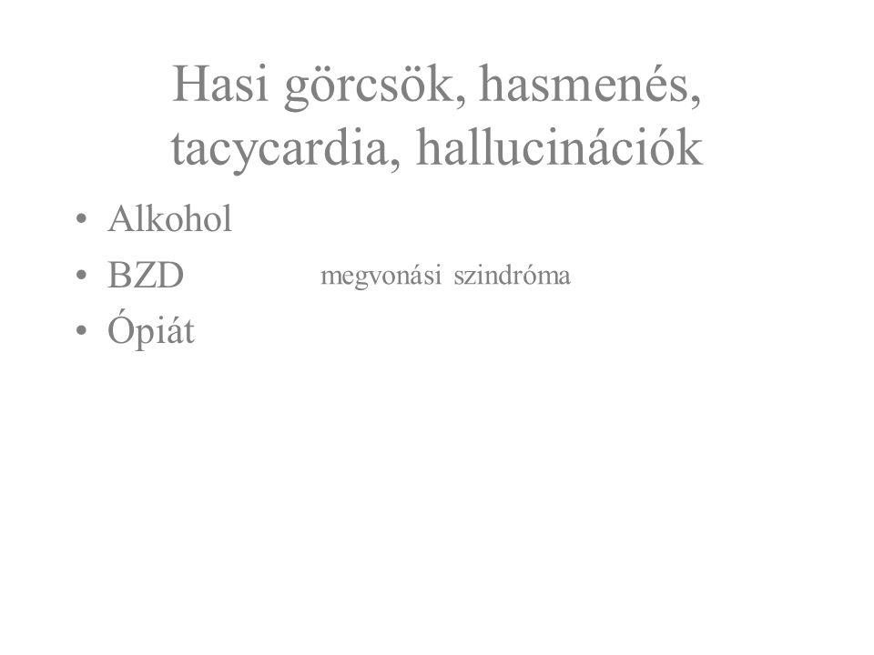 Hasi görcsök, hasmenés, tacycardia, hallucinációk