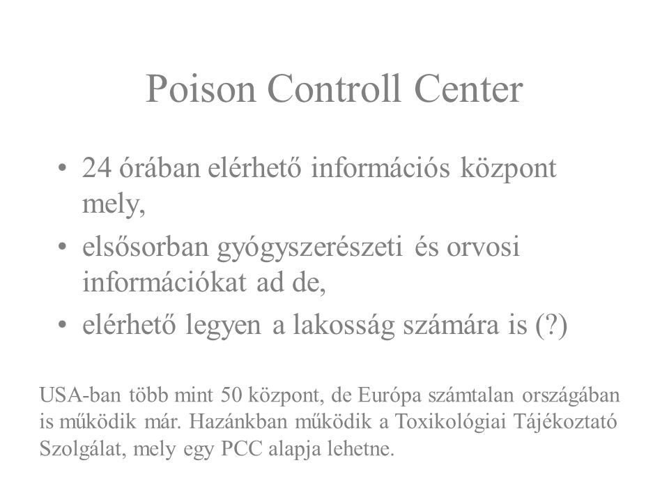 Poison Controll Center
