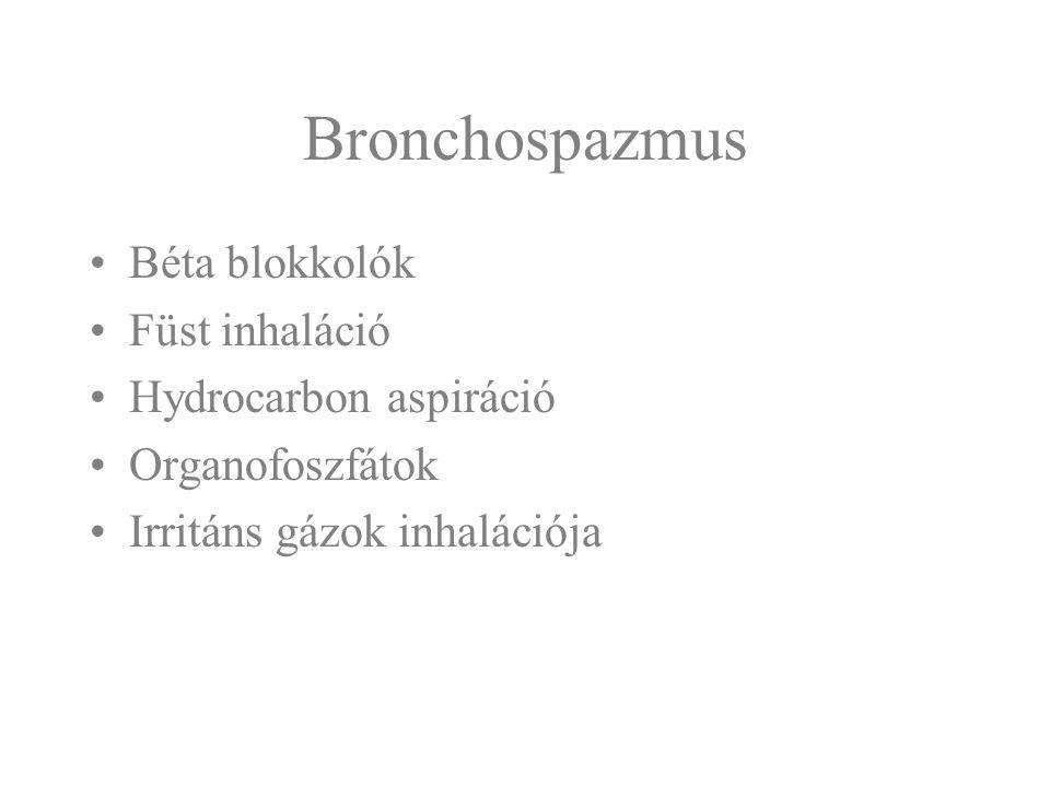 Bronchospazmus Béta blokkolók Füst inhaláció Hydrocarbon aspiráció