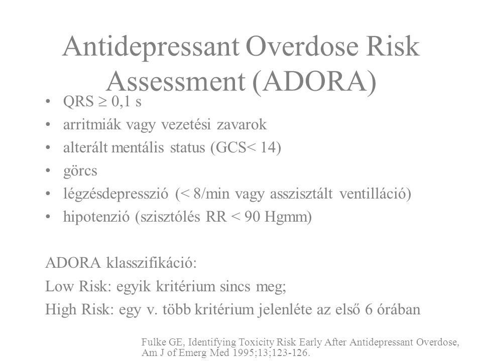 Antidepressant Overdose Risk Assessment (ADORA)