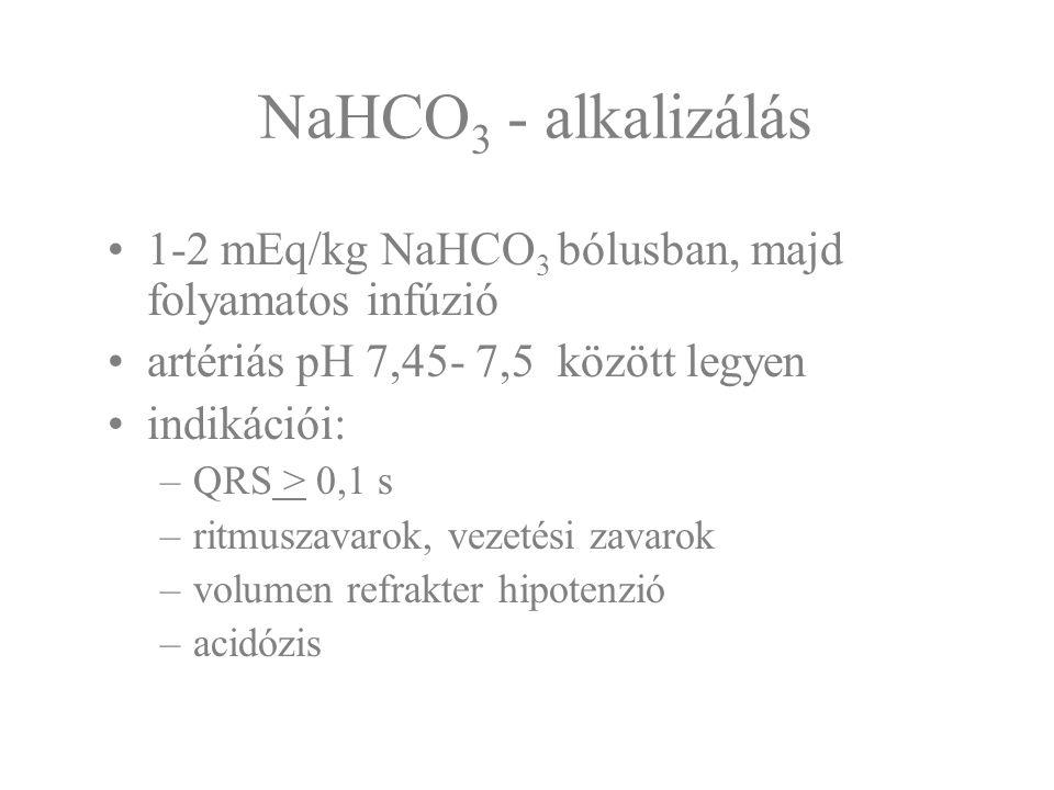 NaHCO3 - alkalizálás 1-2 mEq/kg NaHCO3 bólusban, majd folyamatos infúzió. artériás pH 7,45- 7,5 között legyen.