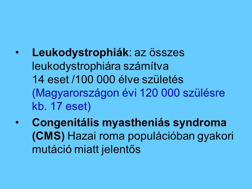 Leukodystrophiák: az összes leukodystrophiára számítva 14 eset /100 000 élve születés (Magyarországon évi 120 000 szülésre kb. 17 eset)