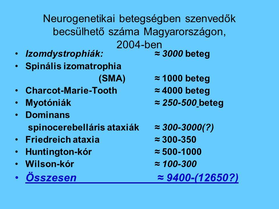 Neurogenetikai betegségben szenvedők becsülhető száma Magyarországon, 2004-ben