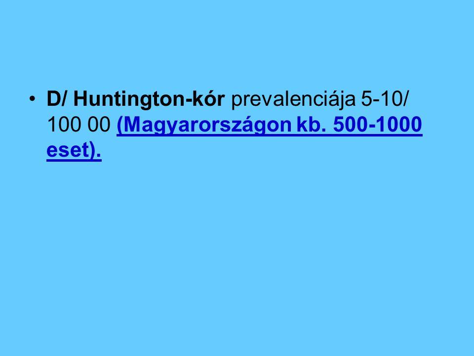 D/ Huntington-kór prevalenciája 5-10/ 100 00 (Magyarországon kb