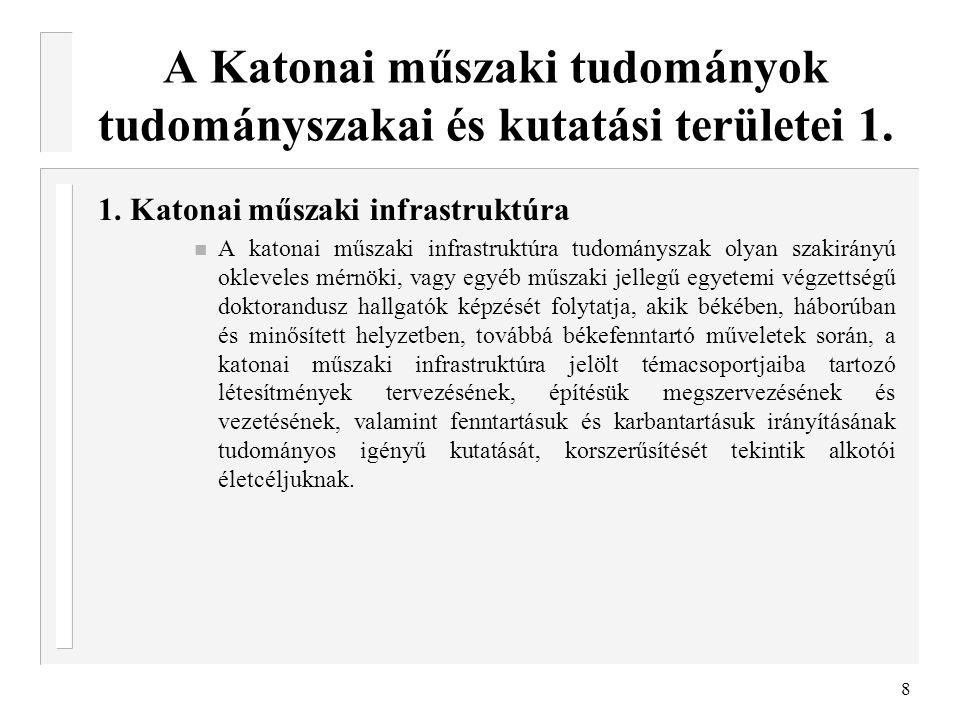 A Katonai műszaki tudományok tudományszakai és kutatási területei 1.