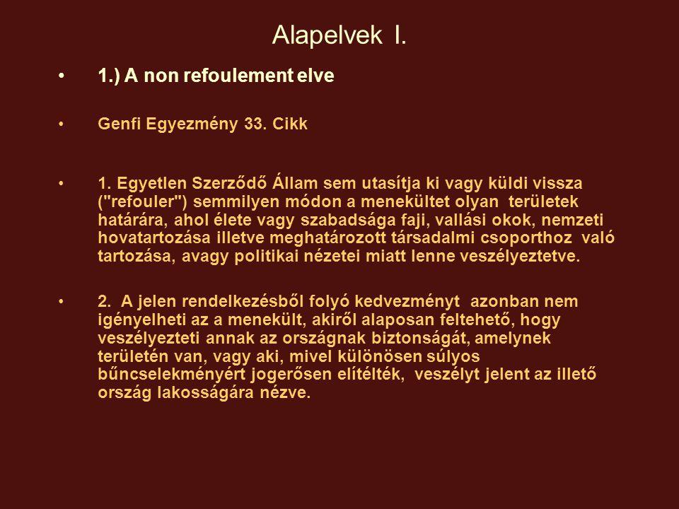Alapelvek I. 1.) A non refoulement elve Genfi Egyezmény 33. Cikk