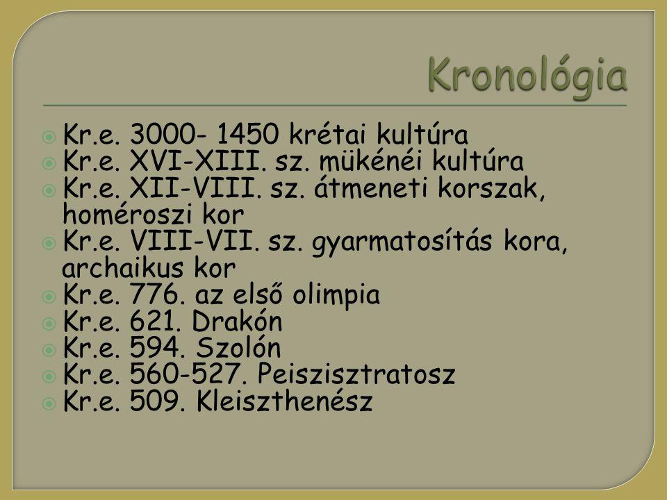 Kronológia Kr.e. 3000- 1450 krétai kultúra
