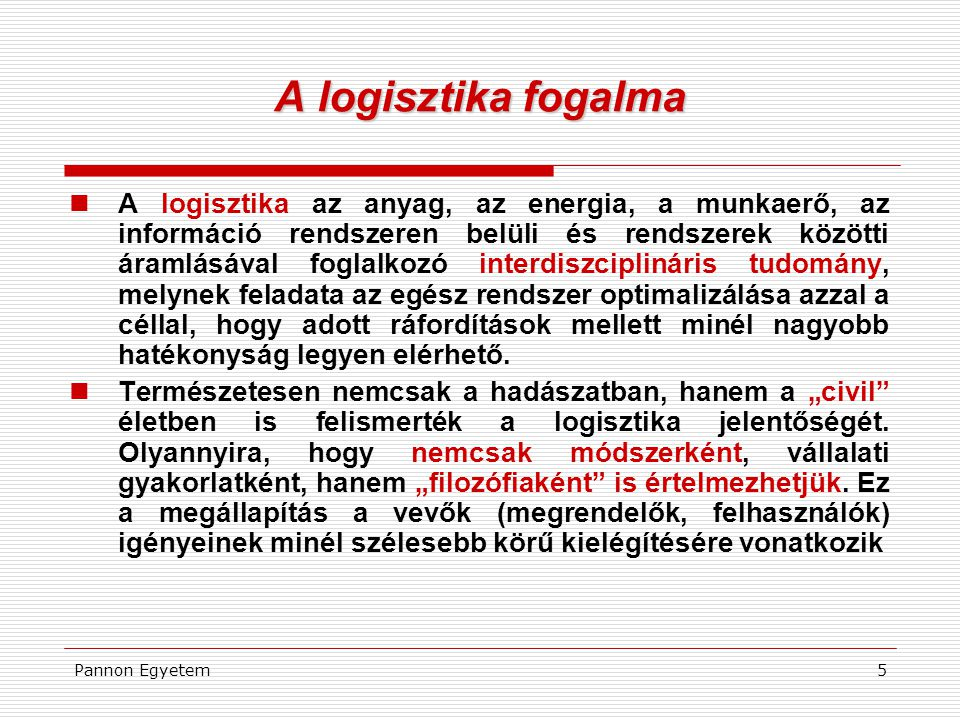 A logisztika fogalma