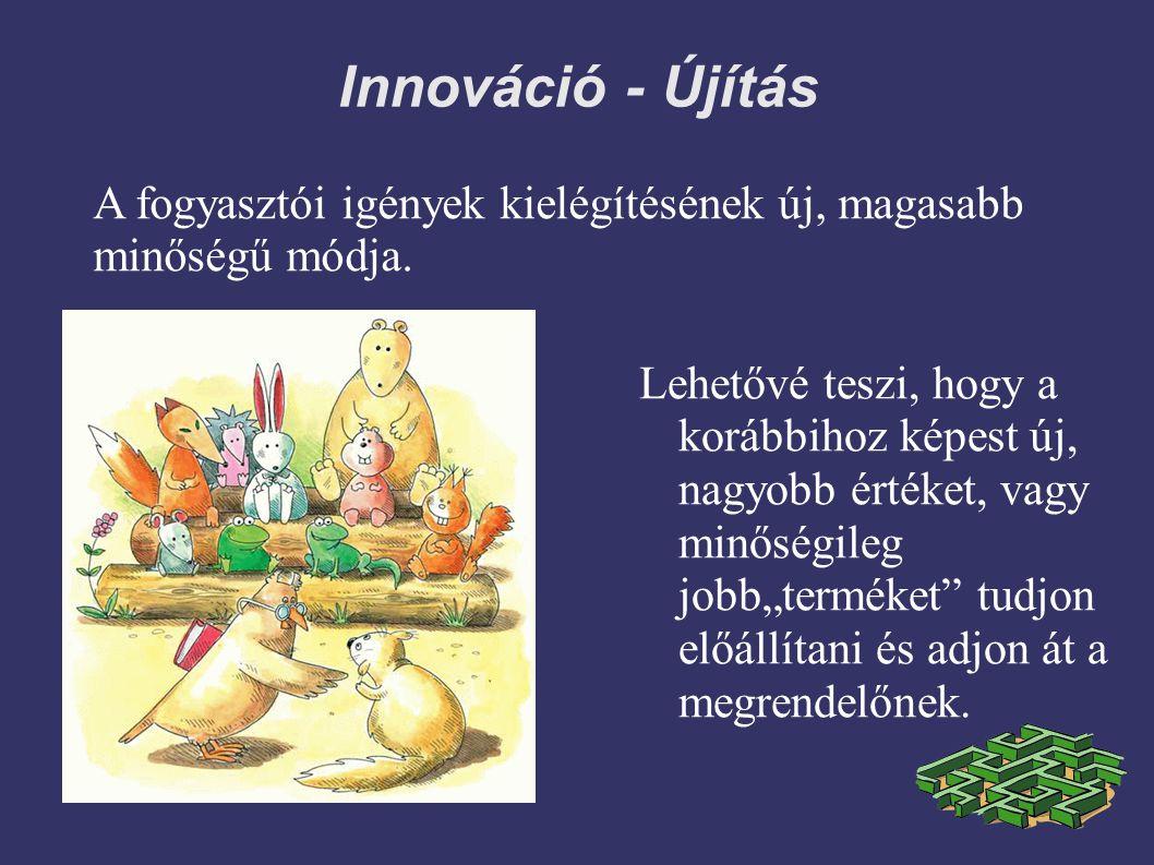 Innováció - Újítás A fogyasztói igények kielégítésének új, magasabb minőségű módja.