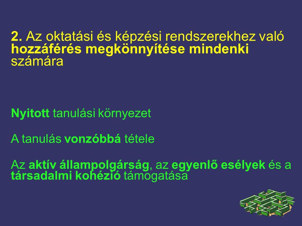 2. Az oktatási és képzési rendszerekhez való hozzáférés megkönnyítése mindenki számára