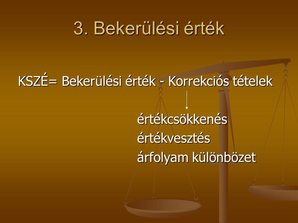 3. Bekerülési érték KSZÉ= Bekerülési érték - Korrekciós tételek