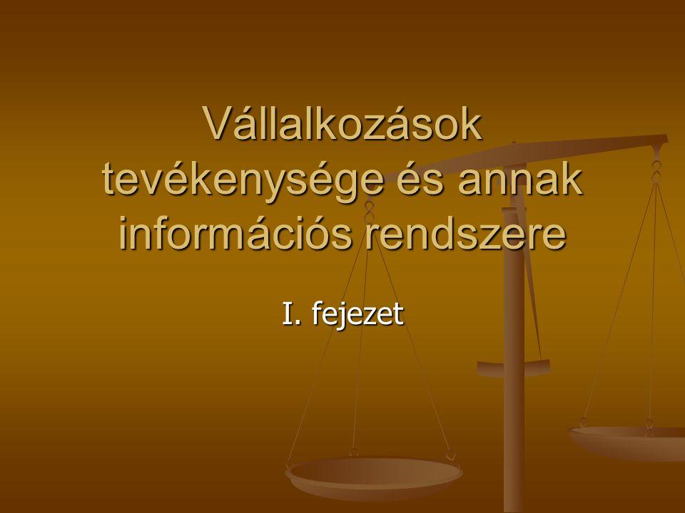 Vállalkozások tevékenysége és annak információs rendszere