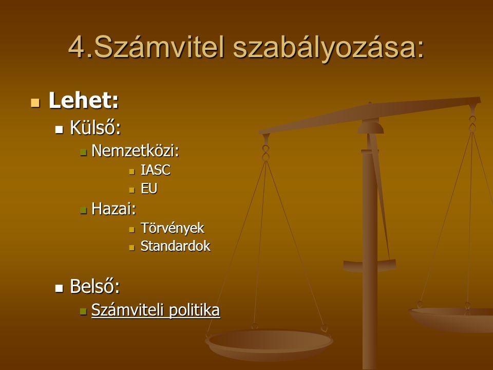 4.Számvitel szabályozása: