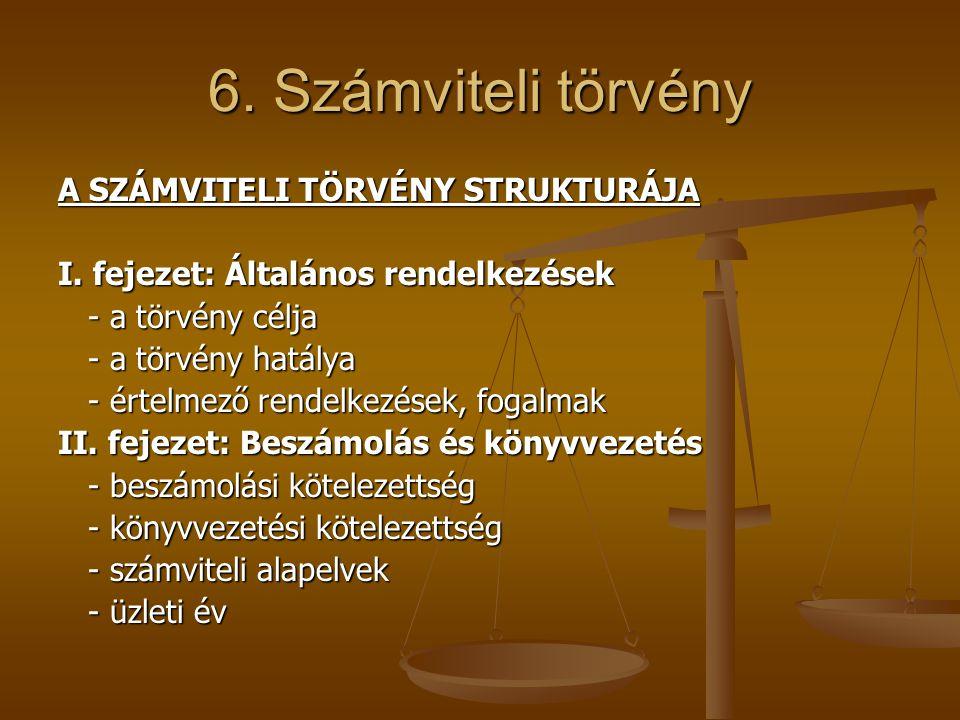 6. Számviteli törvény A SZÁMVITELI TÖRVÉNY STRUKTURÁJA