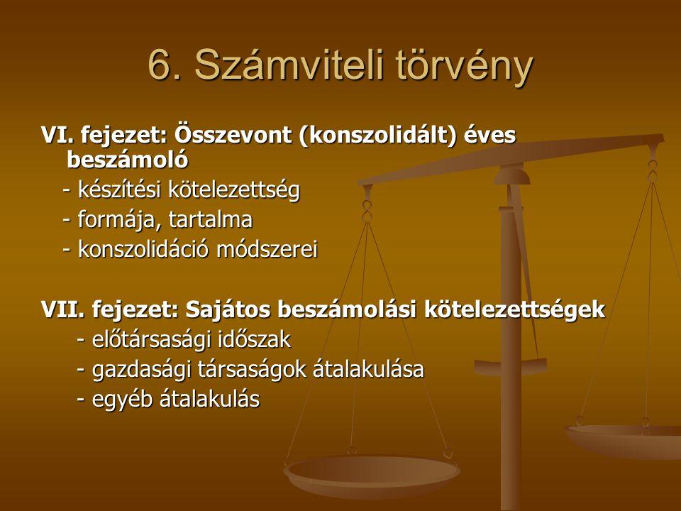 6. Számviteli törvény VI. fejezet: Összevont (konszolidált) éves beszámoló. - készítési kötelezettség.